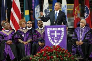President Obama delivering eulogy